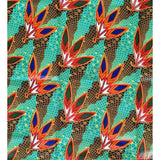 African Fabric/ Ankara - Aqua Green/Teal 'Fortune Favors the Bold' , YARD or WHOLESALE