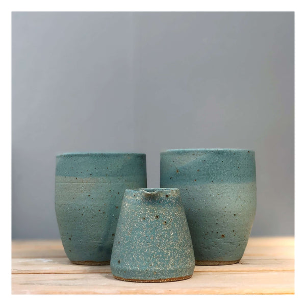 handmade cups and jug blue speckle