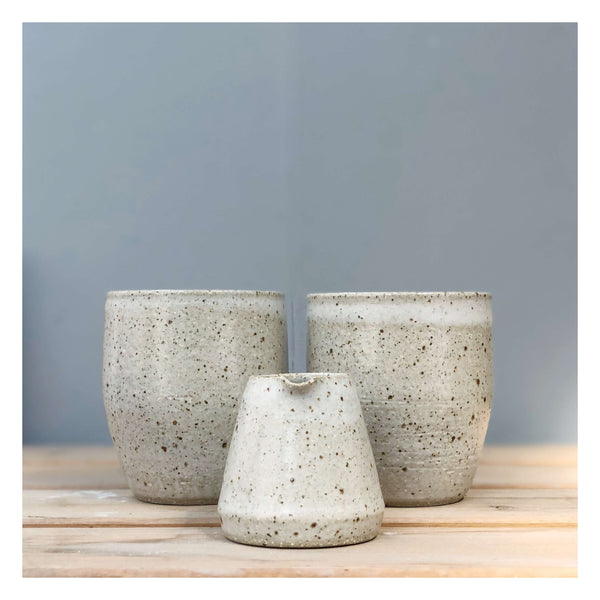 handmade cups and jug speckled