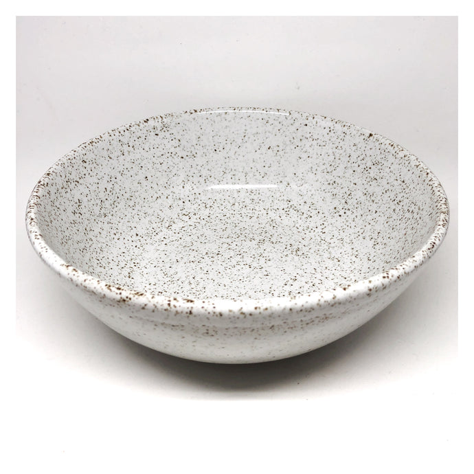 handmade ceramic serving bowl speckled white