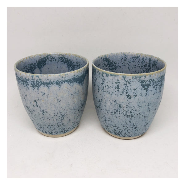 handmade ceramic tea cups blue