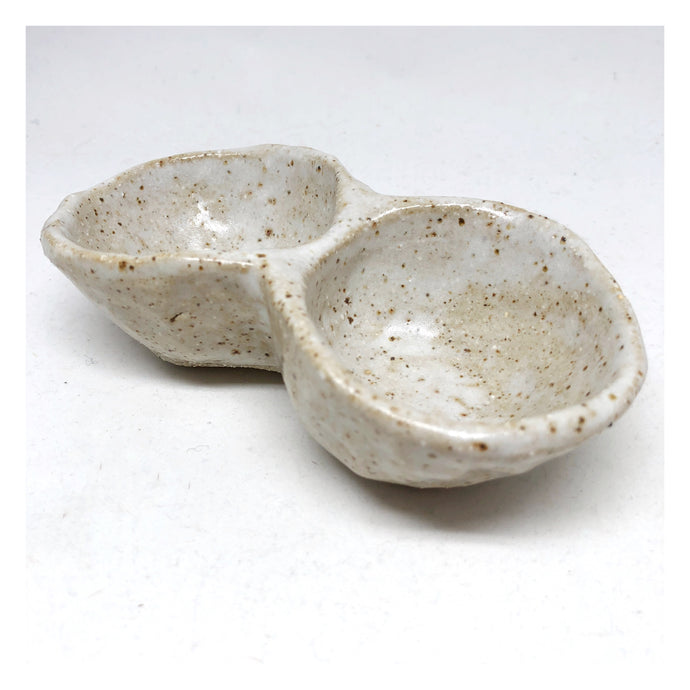 handmade speckled ceramic pinch pot duo
