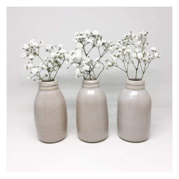 Milk bottle vase mid shell white