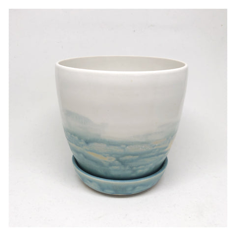 handmade ceramic planter coastal blue