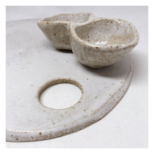 handmade ceramic speckled platter with pinch pot
