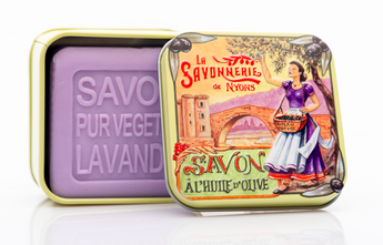 Lavender Bar Soap in Provençal Tin (Olive picking design) - Petite France Australia