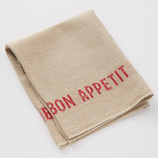 Serviettes Set of Six 100% French Linen Napkins Bon Appetit Rouge by Charvet Editions - Petite France Australia