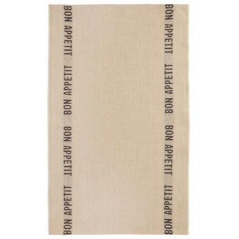 100% French Linen Kitchen Tea Towel Bon Appetit Noir by Charvet Editions - Petite France Australia
