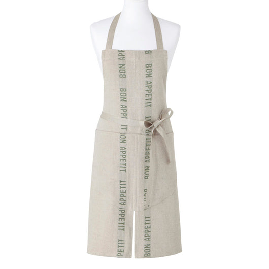 100% French Linen Apron with Bon Appetit in Khaki by Charvet Editions - Petite France Australia
