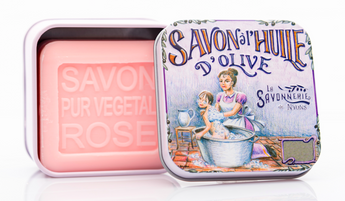 Rose Bar Soap in Tin (Baby Bathing design) - Petite France Australia