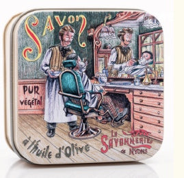 Verbena Bar Soap in Tin (Barber shop design) - Petite France Australia