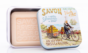 Cotton Flower Bar Soap in Tin (Brittany design) - Petite France Australia