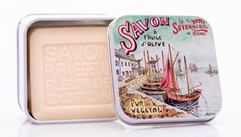 Cotton Flower Bar Soap in Tin (French Marina design) - Petite France Australia