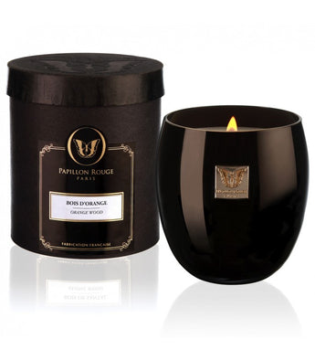 Papillon Rouge Opaline Scented Natural Candle Black Glass 250g 60hours - Petite France Australia