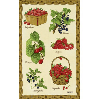 French Printed Red Fruits Tea Towel - Petite France Australia
