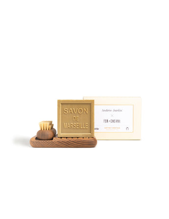 Savon de Marseille with Handmade Wooden Soap Dish and Brush Heritage Gift Set - Petite France Australia