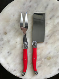French Cheese cleaver and fork - Red - Petite France Australia