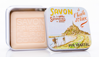 Cotton Flower Bar Soap in Tin (Mont Saint Michel design) - Petite France Australia