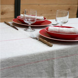 Large Tablecloth 100% French Linen Rythmo Rouge by Charvet Editions - Petite France Australia