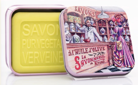 Verbena Bar Soap in Tin (Chemist shop design) - Petite France Australia