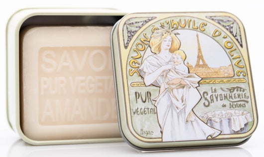 Almond Bar Soap in Tin (Paris Baby design) - Petite France Australia