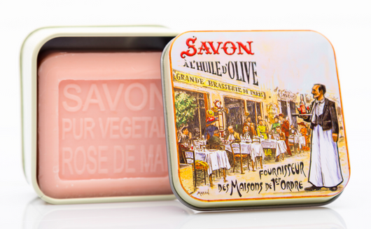 Rose Bar Soap in French Brasserie Tin 100g - Petite France Australia