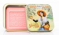 Rose Bar Soap in Tin (Picking Olive design) - Petite France Australia