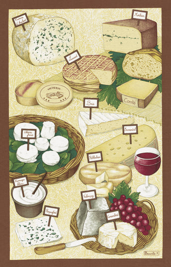 French Printed Fromages Cheese Tea Towel - Petite France Australia