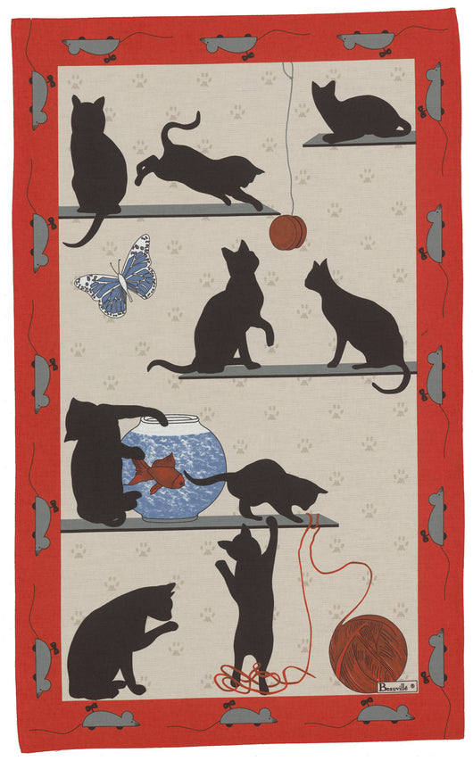 French Printed Chat Pitre Kittens Tea Towel - Petite France Australia