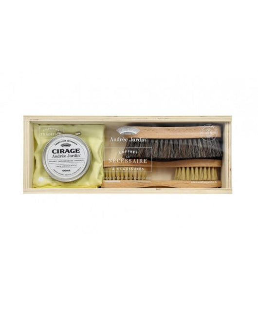 Andree Jardin 5 Piece Premium Shoe Polish Care Kit Handcrafted Beech Brushes - Petite France Australia