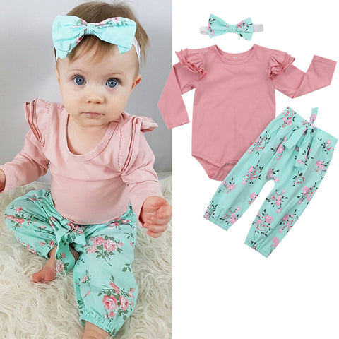 3PCS Ruffles Floral set
