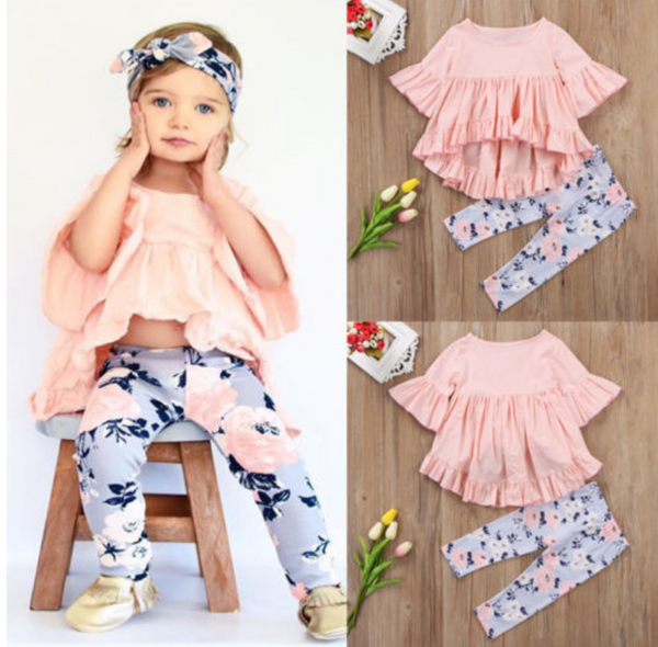 2PCS ruffle baby girl set