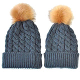 Mom and baby pompom hats