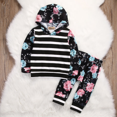 Girls Flowers Hoodie Set