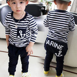 New Spring Kids Clothes Navy Long Sleeve Pullover Striped Sports Suit Casual Boys Clothing Set Z249 M09