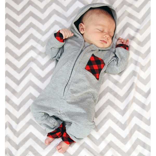 Baby Hooded Romper Plaid