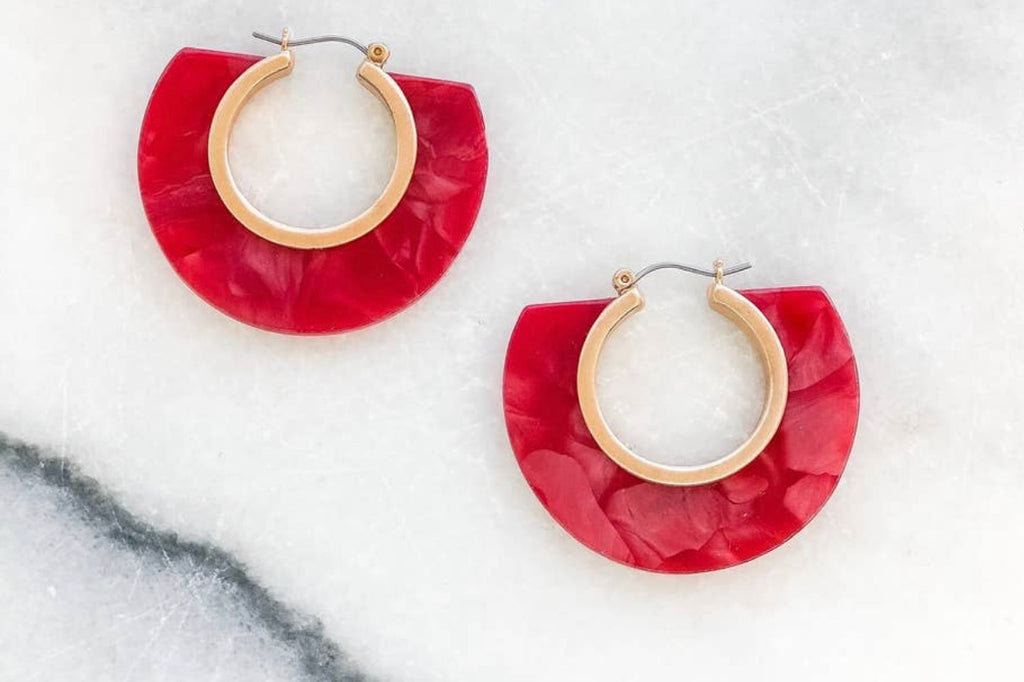Red Acrylic hoop earring
