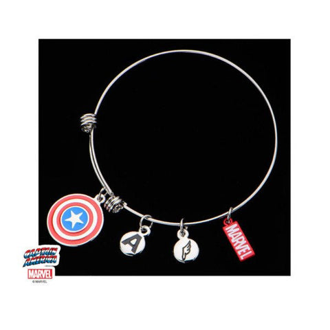 Marvel Captain America Enamel Filled Logo Charm Expandable Bracelet