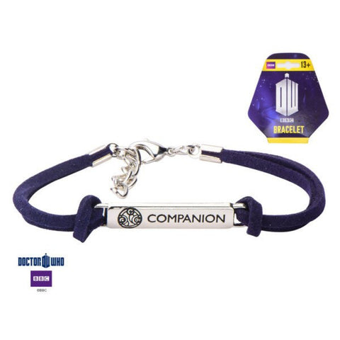 Doctor Who Companion ID Plate Corded Leather Bracelet