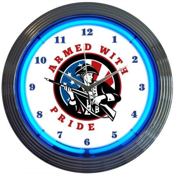 Armed With Pride Firearms Neon Clock