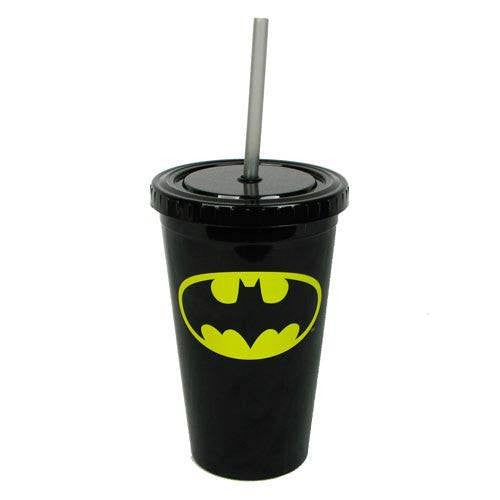 Batman Logo 16oz Plastic Cold Cup w/Lid and Straw