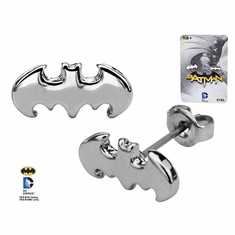 Batman Cutout Silver Tone Stud Earrings