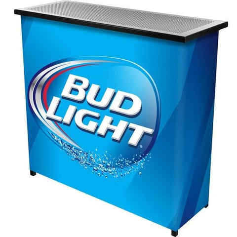 Bud Light Metal 2 Shelf Portable Bar Table with Carrying Case