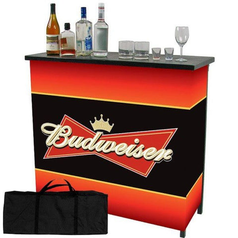 Budweiser Metal 2 Shelf Portable Bar Table with Carrying Case