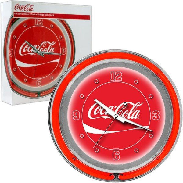 Coca-Cola Neon Clock Dynamic Ribbon Two Neon Rings