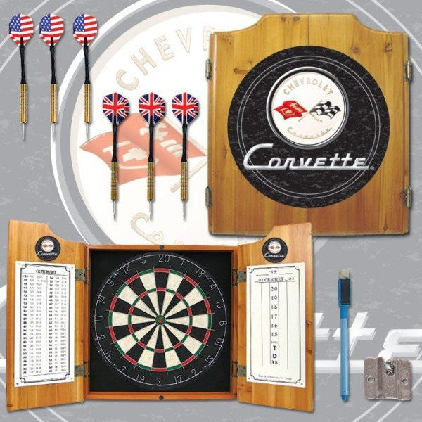 Corvette C1 Dart Cabinet Includes Darts and Board Black