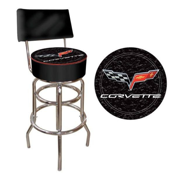 Corvette C6 Padded Bar Stool with Back Black