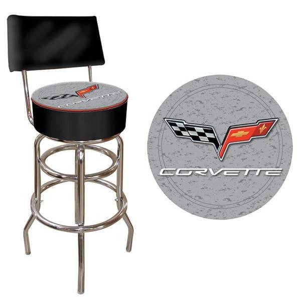 Corvette C6 Padded Bar Stool with Back Black Silver