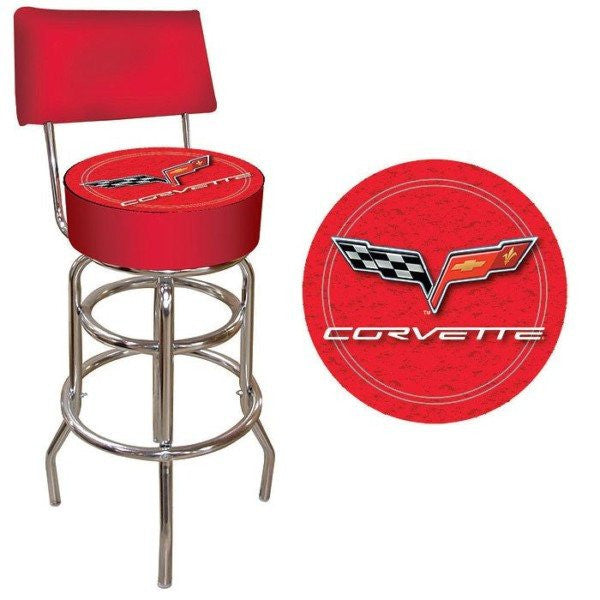 Corvette C6 Padded Bar Stool with Back Red