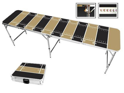 Dark Gold & Black Football Field Beer Pong Table